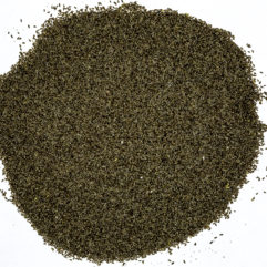 A top down view of a small pile of Artemisia absinthium (Absinthe Wormwood) seeds.
