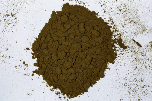 A top down view of a pile of Lactuca virosa (Wild Lettuce) 10x powder extract.