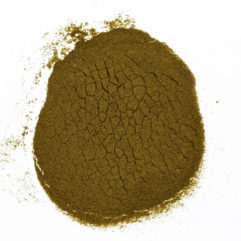 A top down view of a small pile of Eschscholzia californica (California Poppy) 20x powder extract.