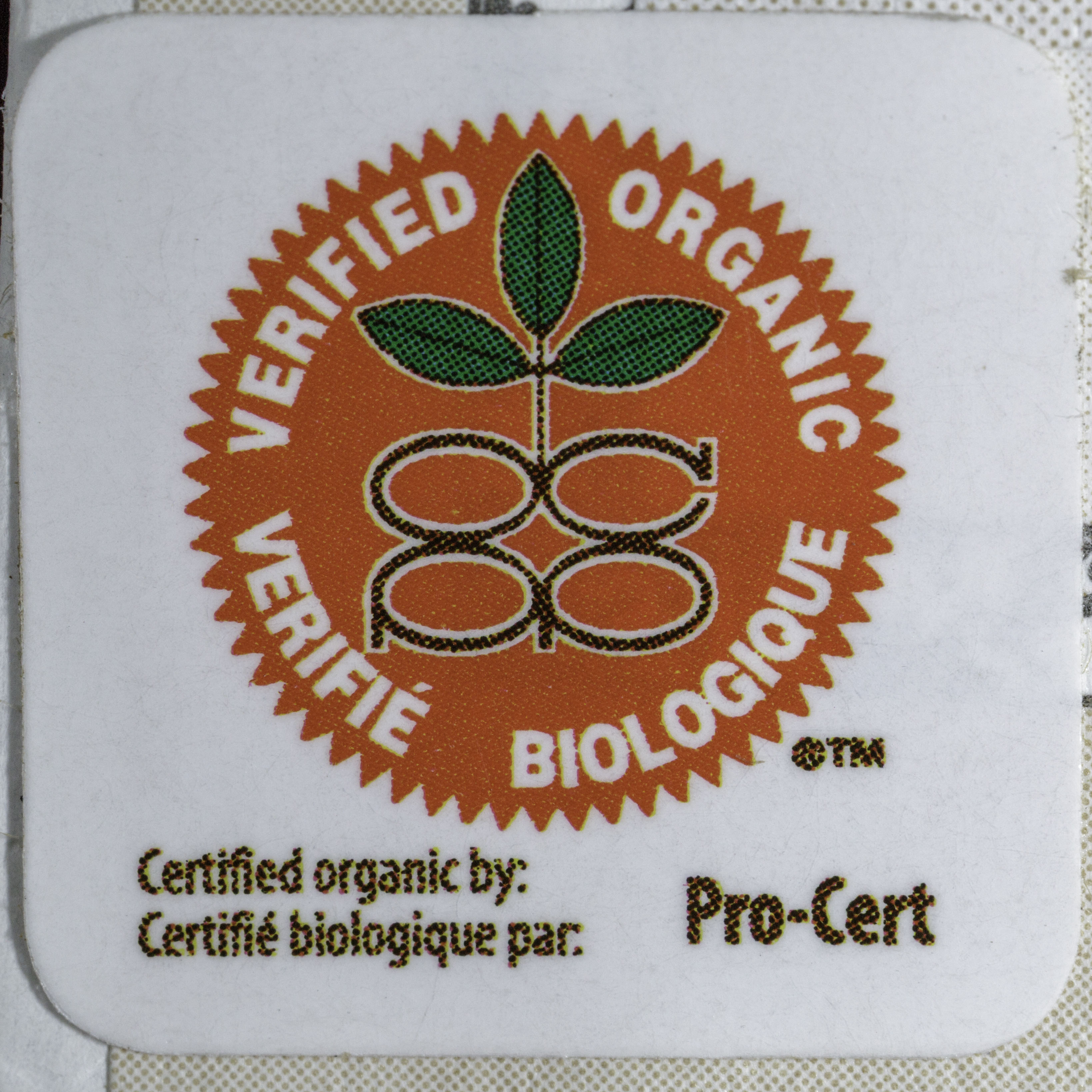 Certified Organic Certification Label for Silybum marianum (Milk Thistle) seeds.